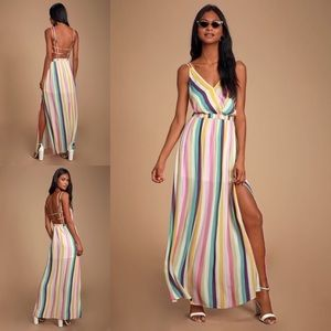 Lulu's Candy Stripe Strappy Maxi Dress NWT - Sz S